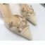 รองเท้าส้นสูงปลายแหลมแต่งมุขสวยหรูใส่ออกงานได้เลย สีครีม/ดำ ไซต์ 34-38 thumbnail 8
