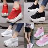 รองเท้าผ้าใบเสริมส้นเดินง่ายเบาสบายสีชมพู/ขาว/ดำ/แดง ไซต์ 34-39