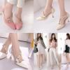 รองเท้าส้นสูงปลายแหลมแต่งดีเทลน่ารักๆสีชมพู/ครีม/ขาว ไซต์ 34-43