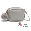 J31-กระเป๋าทรงเหลี่ยมมีปอมๆ สีเทา