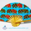 ของที่ระลึกไทย พัดผ้า พัดไม้ลายช้างผ้าถุง (แพ็ค 10 ชิ้นคละสี) แบบ 4