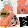 F6071 ชุดเสื้อกั๊ก เอวลอย กระโปรงมีซิปด้านหลัง จับจีบมีซับใน พิมพ์ลายหัวใจ สีส้ม