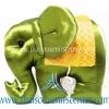 ตุ๊กตาช้างผ้าไหม แบบ 12 หมอนช้าง size M สีเขียวทอง