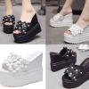 รองเท้าส้นเตารีดแบบสวมแต่งดอกไม้น่ารักๆสีขาว/ดำ ไซต์ 34-39