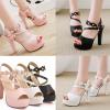 รองเท้าส้นสูงแต่งสายรัดข้อดูน่ารักสีชมพู/ขาว/ดำ ไซต์ 34-43