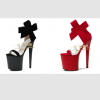 รองเท้าส้นแก้ว ไซต์ 34-44 สีดำ/แดง