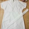 F4024 เสื้อมินิเดรสตัวยาว มีเข็มขัดผ้า สีขาว