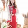 (Size M,L)ชุดไปงานแต่งงาน ชุดไปงานแต่ง สีแดง เดรสแขนยาวสีพื้น เอวระบายแต่งลูกไม้ฝรั่งเศส แต่งด้วยลูกไม้ออแกนดี้ รุ่นนี้แนะนำเลยค่ะ