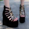รองเท้าส้นเตารีดแต่งสายคากโลหะทองสีดำ ไซต์ 34-38