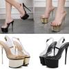 รองเท้าส้นสสูงแบบพลาสติกใสสีทอง/ดำ ไซต์ 34-40