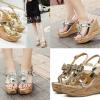 รองเท้าส้นเตารีดส้นลายไม้แบบสวนสีเงิน/ทอง ไซต์ 34-39