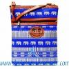 ของฝากจากไทย กระเป๋าสะพายลายช้างสายหนัง แบบ 17 สีน้ำเงิน