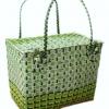 ตะกร้าสานพลาสติก กระเป๋าสานพลาสติก PMM 89 ฝาปิดกลาง กว้าง 23 cm. ยาว 37 cm. สูง 30 cm.