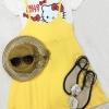 F6033 ชุดเสื้อยืด+เอี้ยมสายเดี่ยวแยกชิ้น เสื้อตัวในสีขาวพิมลายคิตตี้ เอี้ยมเนื้อผ้าโปโล(ผ้าจุติ)อย่างดี สีเหลือง
