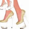 รองเท้าส้นสูงส้นแก้วสีเงิน/ทอง ไซต์ 34-44