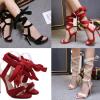 รองเท้าส้นสูงสายรัดขายาวสีแดง/ดำ/ครีม ไซต์ 35-40