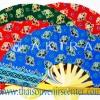 ของที่ระลึกไทย พัดผ้า พัดไม้ลายช้าง (แพ็ค 10 ชิ้นคละสี) แบบ 2