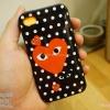 iPhone 4, 4S - เคส Face Idea ลาย Play COMME พื้นหลังลายจุด ดำ
