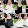 รองเท้าส้นเตารีด 6.6 นิ้ว สีดำ/ขาว ไซต์ 34-38