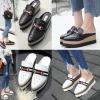 รองเท้าส้นเตารีดแบบสวมปลายแหลมสีดำ/ขาว ไซต์ 34-39