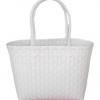 ตะกร้าสานพลาสติก กระเป๋าสานพลาสติก ATS-White กว้าง 15 cm. ยาว 34 cm. สูง 20 cm.