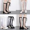 รองเท้าบูทยาวส้นเตี้ยสีขาว/ดำ ไซต์ 35-40