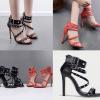 รองเท้าส้นสูงสายตอกหมุดสีแดง/ดำ ไซต์ 35-40