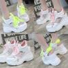 รองเท้าผ้าใบเสริมส้นทรงเปิดส้นเท้าสีชมพู/ดขียว ไซต์ 35-39
