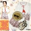 F7069 Set เสื้อแขนกุด + กางเกง ลายปักลายไทยรูปดอกไม้ สีแดงเลือดหมู งานปัก งานป้ายนะคะ