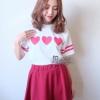11804 Set หัวใจ เซตเสื้อสกรีนหัวใจสามดวงสีขาว + กระโปรง งานผ้า แมงโก้ สีแดง หนานิ่มอย่างดีค่ะ