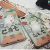 iPhone 7 Plus - เคส TPU หลังนุ่มนิ่ม 3D ลายแมวขาว พื้นหลังเขียว