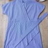 F4023 เสื้อมินิเดรสตัวยาว มีเข็มขัดผ้า สีฟ้า-ขาว