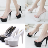 รองเท้าส้นสูงแบบสวมสีขาว/ดำ ไซต์ 34-38