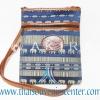 ของฝากจากไทย กระเป๋าสะพายลายช้างสายหนัง แบบ 1 สีน้ำเงิน