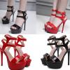 รองเท้าส้นสูงหนังแก้วสีแดง/ดำ ไซต์ 35-39