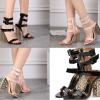 รองเท้าส้นสูงส้นหน้าสีชมพู/ดำ ไซต์ 34-40