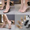 รองเท้าส้นสูงพลาสติกใสคาดใส่ได้ทั้งสวมและรัดข้อสีดำ/ขาว/ครีม ไซต์ 35-40