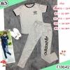 F13642 เซ็ท 2 ชิ้น เสื้อ+กางเกงขายาว สกรีน adidas สีเทา