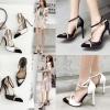 รองเท้าส้นสูงปลายแหลมสีขาว/ดำ ไซต์ 35-40