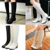 รองเท้าบูทยาวผ้าลูกไม้โปร่งสีขาว/ดำ/ครีม ไซต์ 34-43