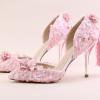 รองเท้าเจ้าสาวสีชมพูลูกไม้ ไซต์ 34-39