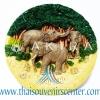 สินค้าที่ระลึก จานโชว์เรซิ่น แบบ 2 ลายครอบครัวช้าง
