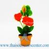 ของขวัญไทย ดอกไม้จิ๋วดินปั้น ดอกกุหลาบสีส้ม