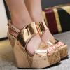 รองเท้าส้นเตารีด 6 นิ้ว ส้นลายไม้สีทอง ไซต์ 35-40