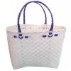 ตะกร้าสานพลาสติก กระเป๋าสานพลาสติก ATS - สายม่วง กว้าง 14 cm. ยาว 32 cm. สูง 20 cm.