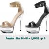 รองเท้าส้นแก้วสีนู๊ด/ดำ ไซต์ 34-40
