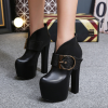 รองเท้าบูทหนังส้นสูงสีดำ ไซต์ 34-40