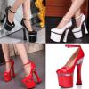 รองเท้าส้นสูง ไซต์ 34-44 สีดำ/แดง/ขาว