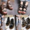 รองเท้าส้นเตารีดสีเทา/ดำ ไซต์ 34-39