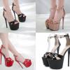 รองเท้าส้นสูง 6.6 นิ้ว สีแดง/ดำ/ครีม ไซต์ 34-40